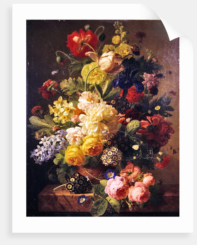 Flowers In A Vase On A Marble Console Table Posters Prints By Jan