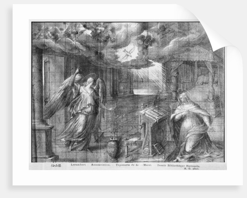 Life of Christ, Annunciation, preparatory study of tapestry cartoon for the Church Saint-Merri in Paris by Henri Lerambert