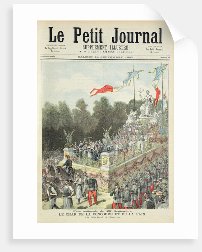 Title page depicting the national holiday on 22nd September celebrating the centennial of the proclamation of the Republic by Henri Meyer
