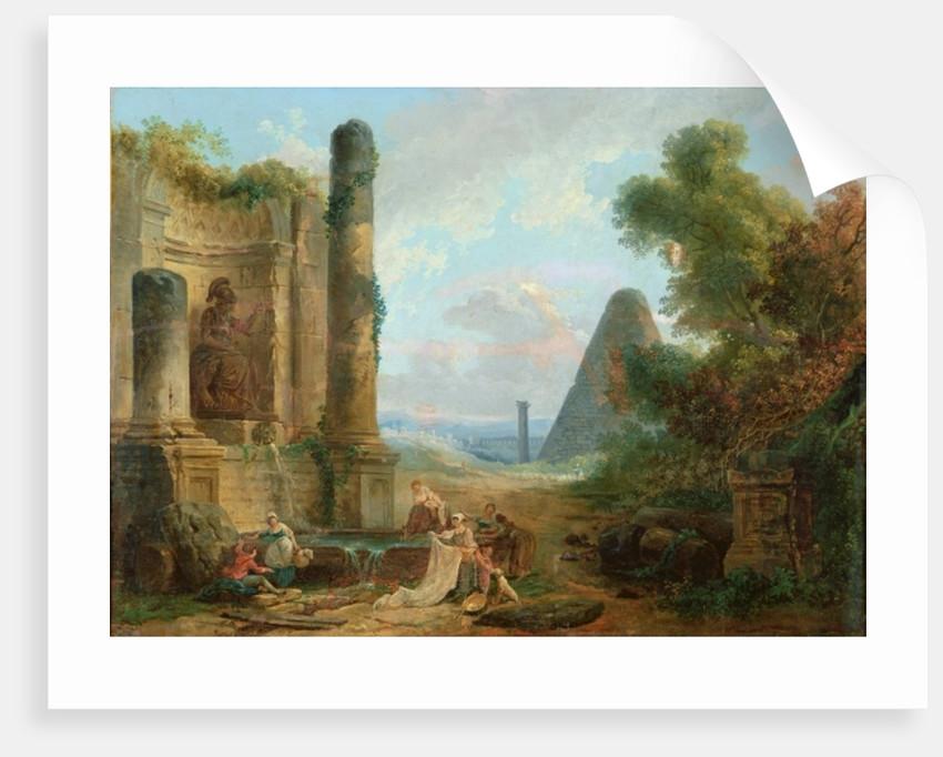 Fountain of Minerva, Rome by Hubert Robert