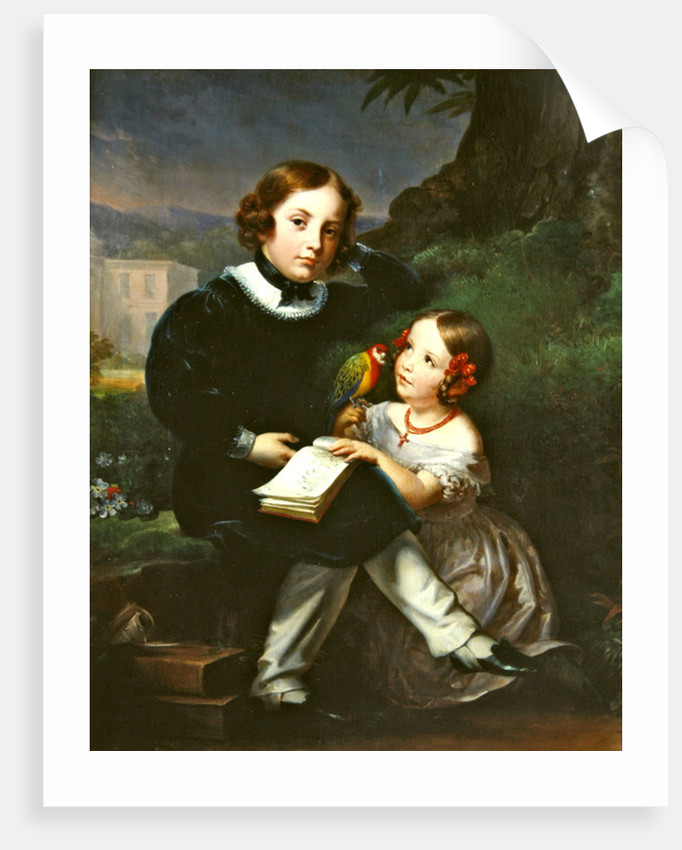 Portrait of the children of Pierre-Jean David d'Angers by Marie Eleonore Godefroid