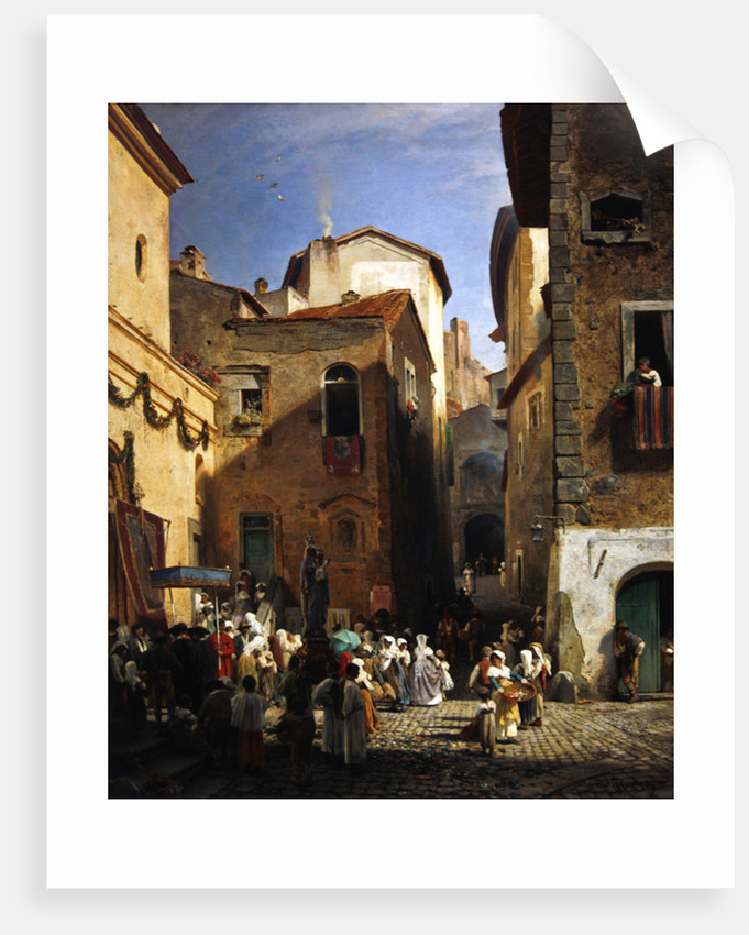 Festival of Our Lady at Gennazzano, Roman Campagna, Italy by Oswald Achenbach