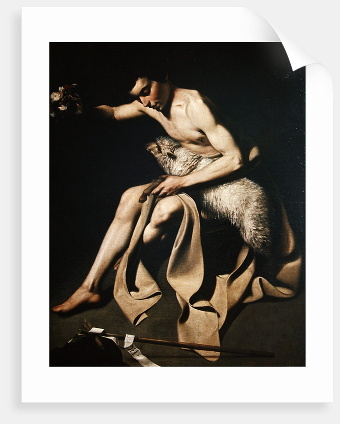 John the Baptist playing with a lamb by Michelangelo Merisi da Caravaggio