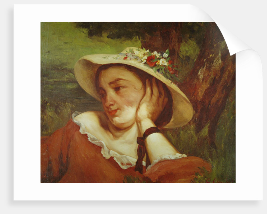 Woman in a Straw Hat with Flowers by Gustave Courbet