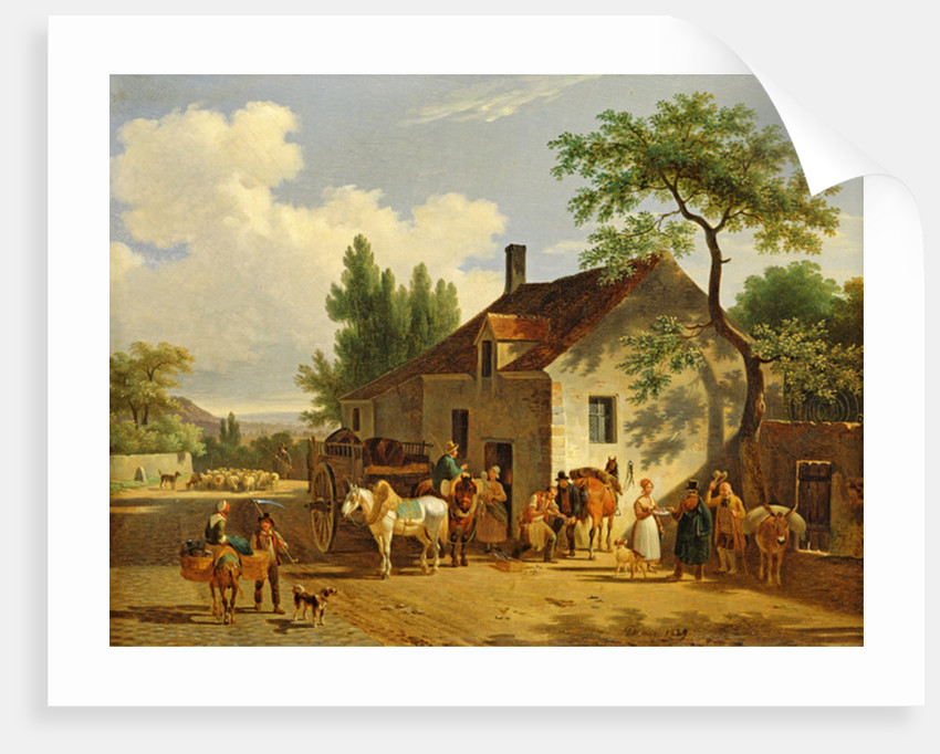 View of a village by Jean Francois Demay