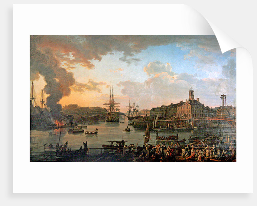View of the port of Brest from the covered docks in 1795 by Jean-Francois Hue