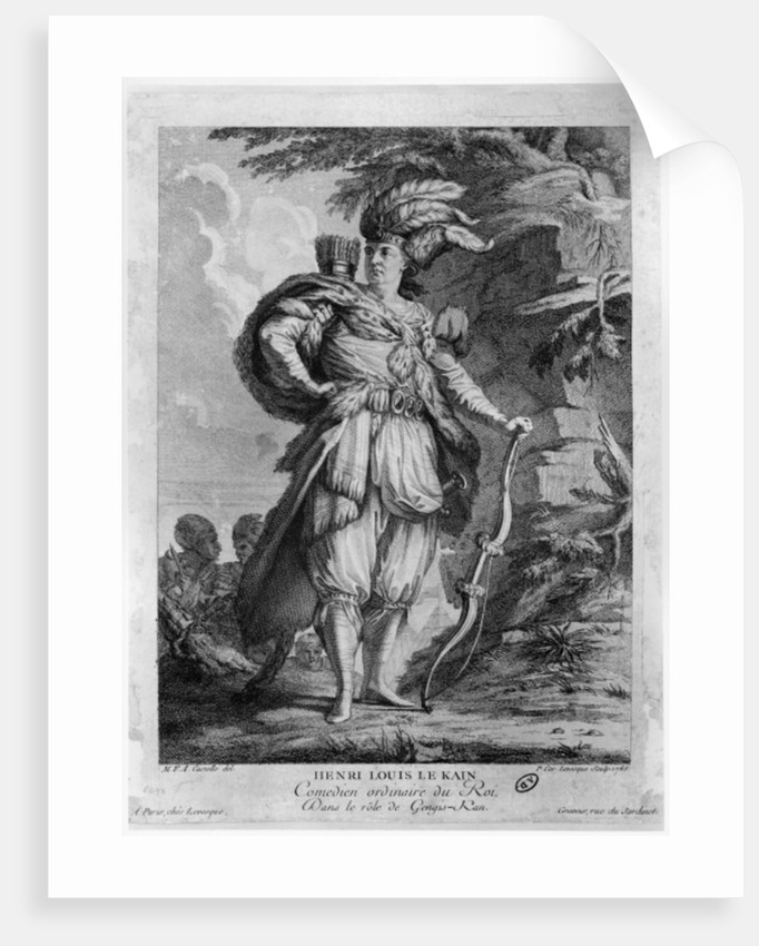 The actor Lekain as Genghis Khan, in 'L'Orphelin de La Chine' by Voltaire by M.F.A. Castelle