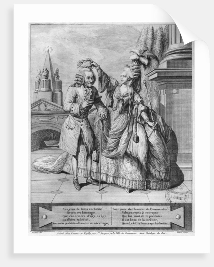 Voltaire crowned by Mademoiselle Clairon by Claude Louis Desrais