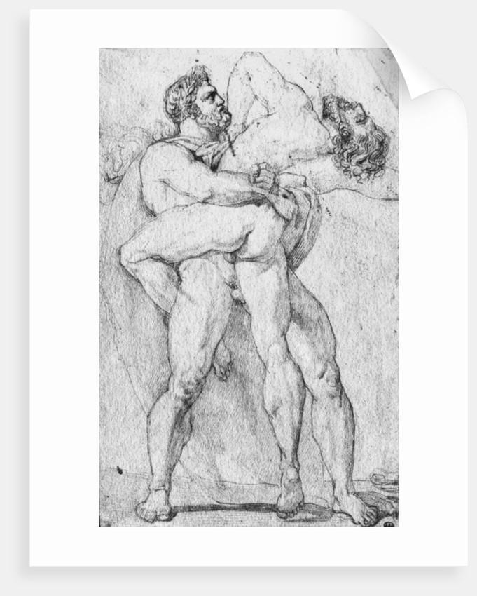 Hercules strangling Antaeus by Louis Charles Auguste Couder