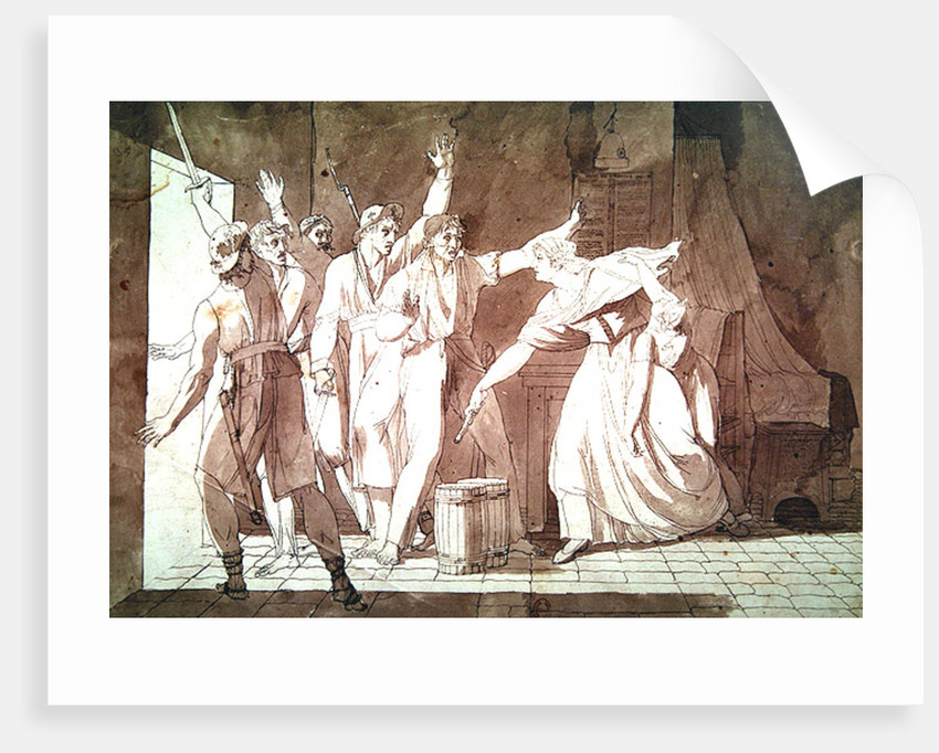 Heroism of a woman facing Vendean robbers having gained control of Saint-Mithier by French School