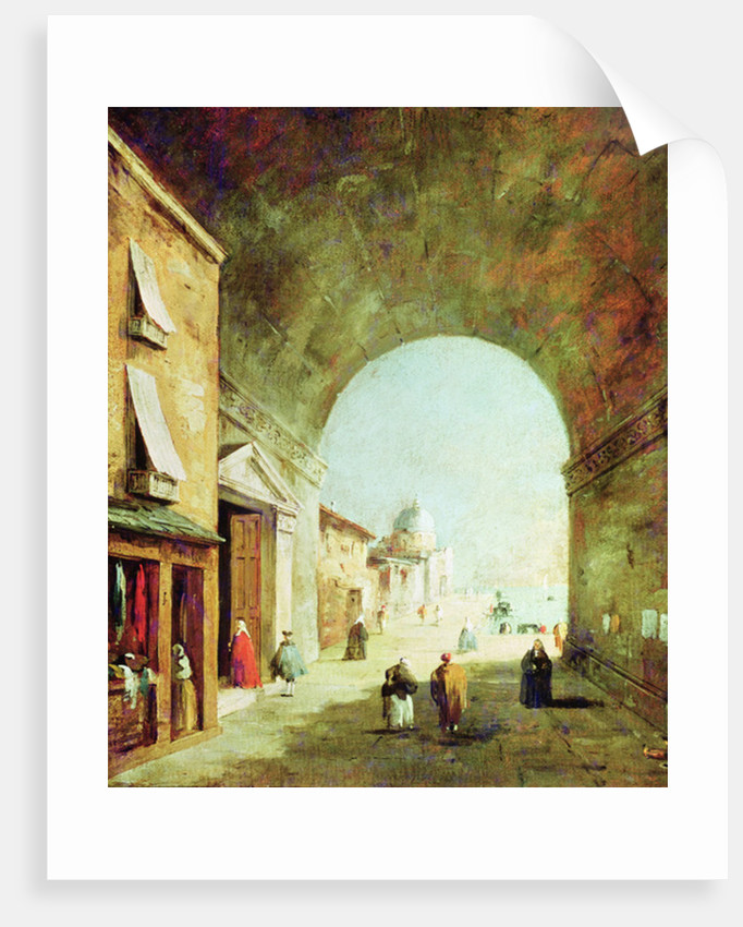 View of a Venetian street by Francesco Guardi