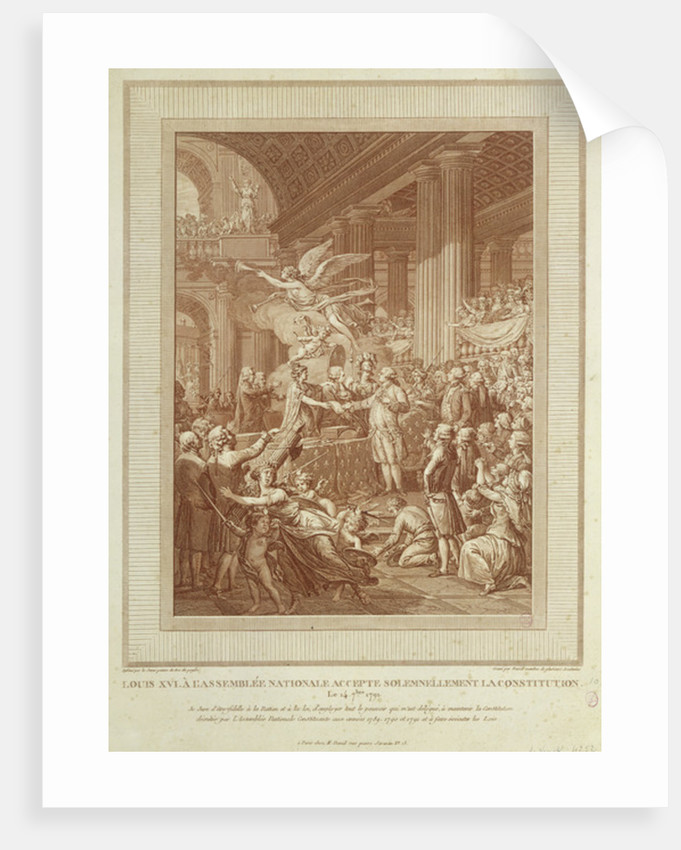 Louis XVI at the National Assembly solemnly accepting the Constitution of by Le Jeune