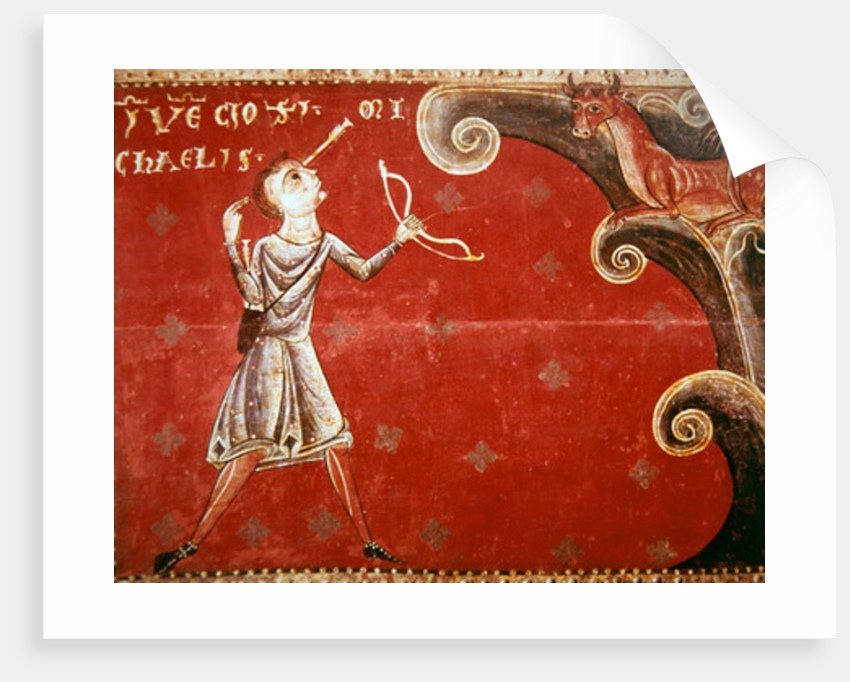 The arrow shot to kill a bull that had escaped from the herd on Mount Gargano returns to smite the shooter on the order of Saint Michael by Master of Llussà