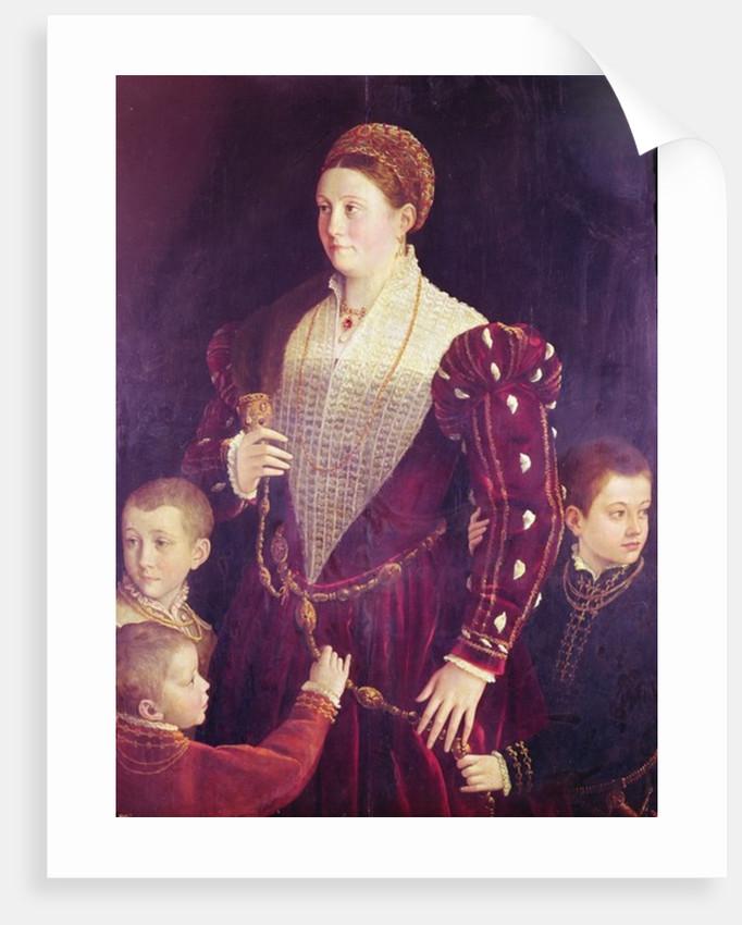 Camilla Gonzaga, Contessa di San Secondo, with three sons by Parmigianino