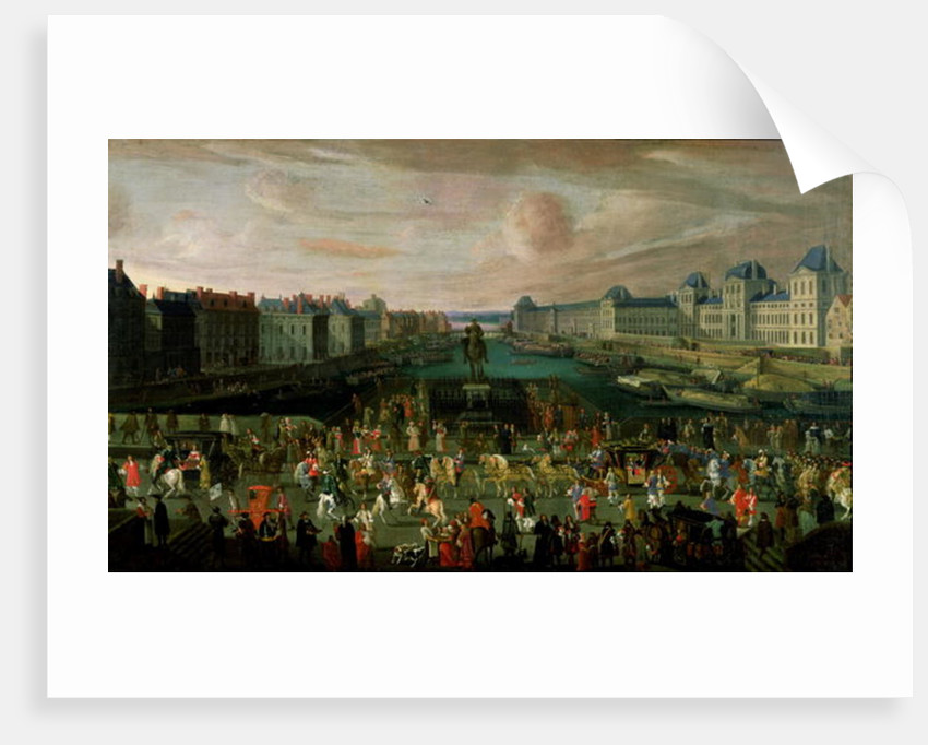 View of the Pont Neuf and the Chateau du Louvre with the Royal Carriage Passing in the Foreground by French School