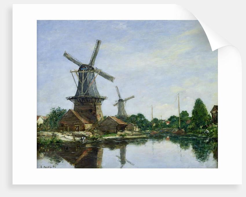 Dutch Windmills by Eugene Louis Boudin