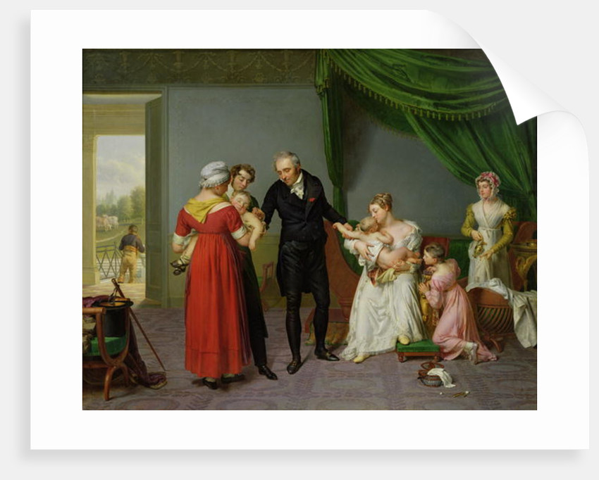 Baron Jean Louis Alibert performing the vaccination against smallpox in the Chateau of Liancourt by Constant Joseph Desbordes