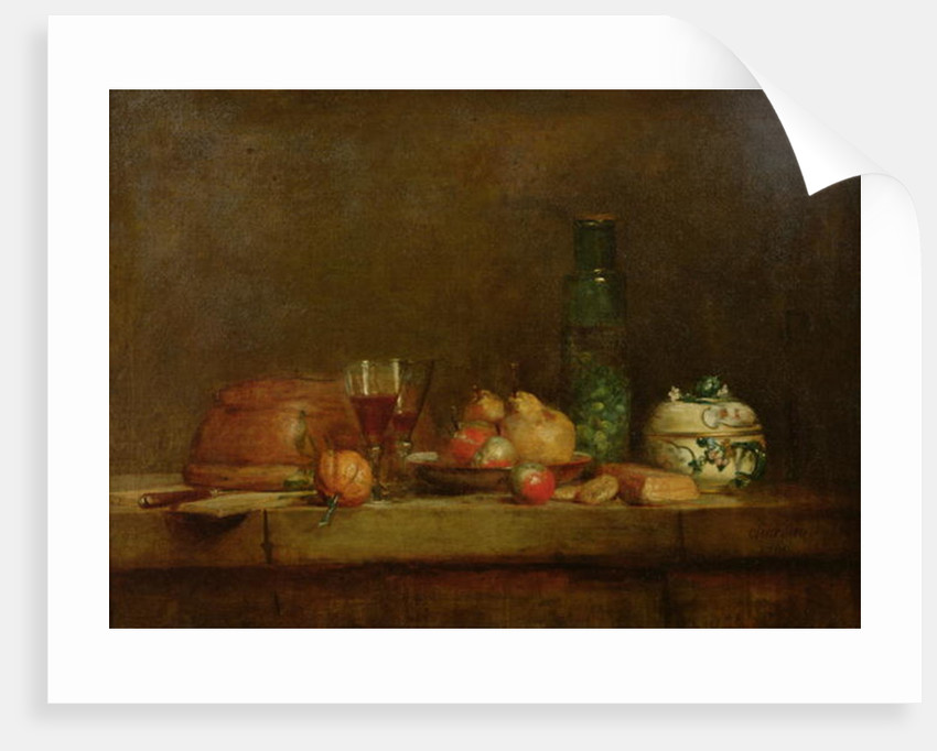 Still Life with a Bottle of Olives by Jean-Baptiste Simeon Chardin