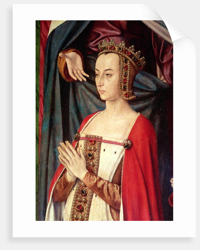 Anne of France, right wing of the Bourbon Altarpiece by Master of Moulins