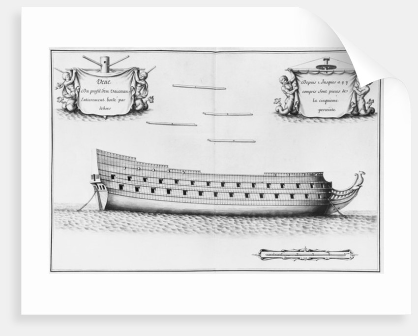 Profile of an entirely planked vessel by French School