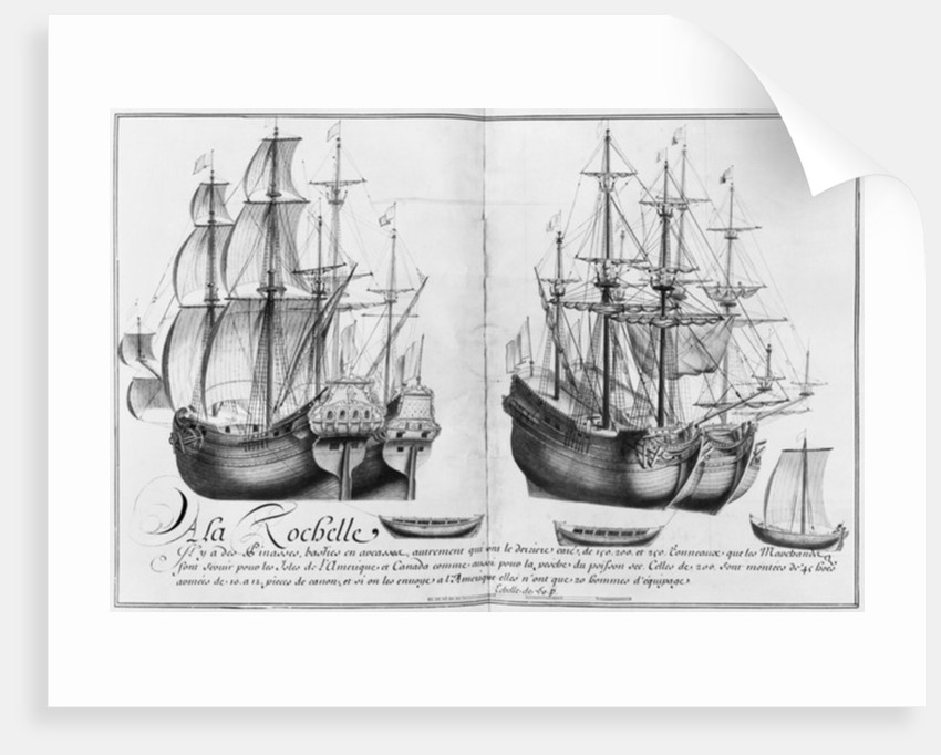 Ships known as 'pinasses', La Rochelle by French School