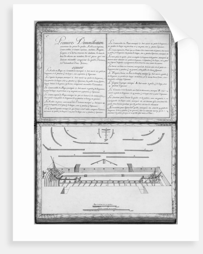 Construction of a galley, first demonstration, plate 1 by French School