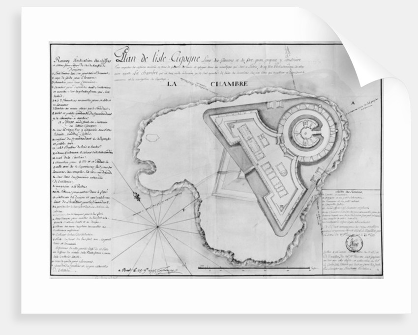 Plan of the Ile Cigogne and the project of a fort, Archipel des Glenan by French School