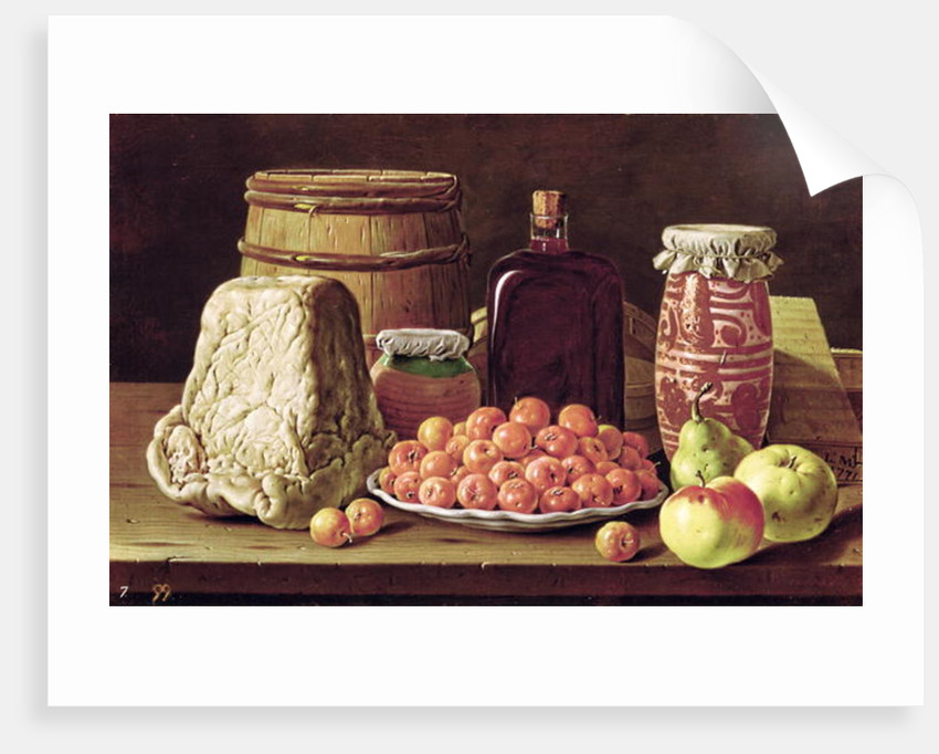 Still Life with Fruit and Cheese by Luis Menendez or Melendez