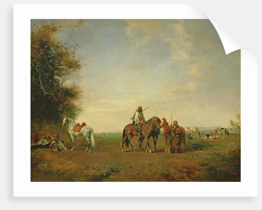 Resting place of the Arab horsemen on the plain by Eugene Fromentin