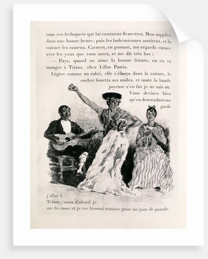 Carmen dancing, pub.1901 by Alexandre Lunois