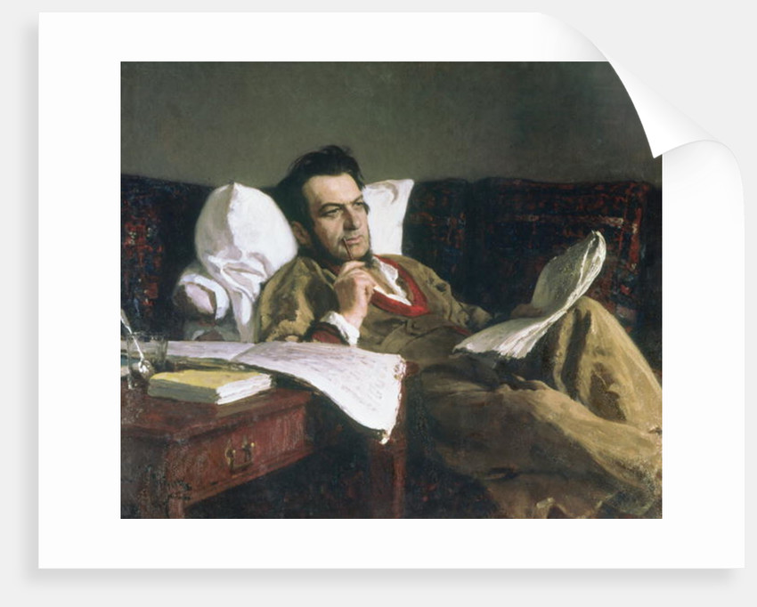 Portrait of Mikhail Glinka at the time of his composition of the opera 'Ruslan and Ludmilla' by Ilya Efimovich Repin