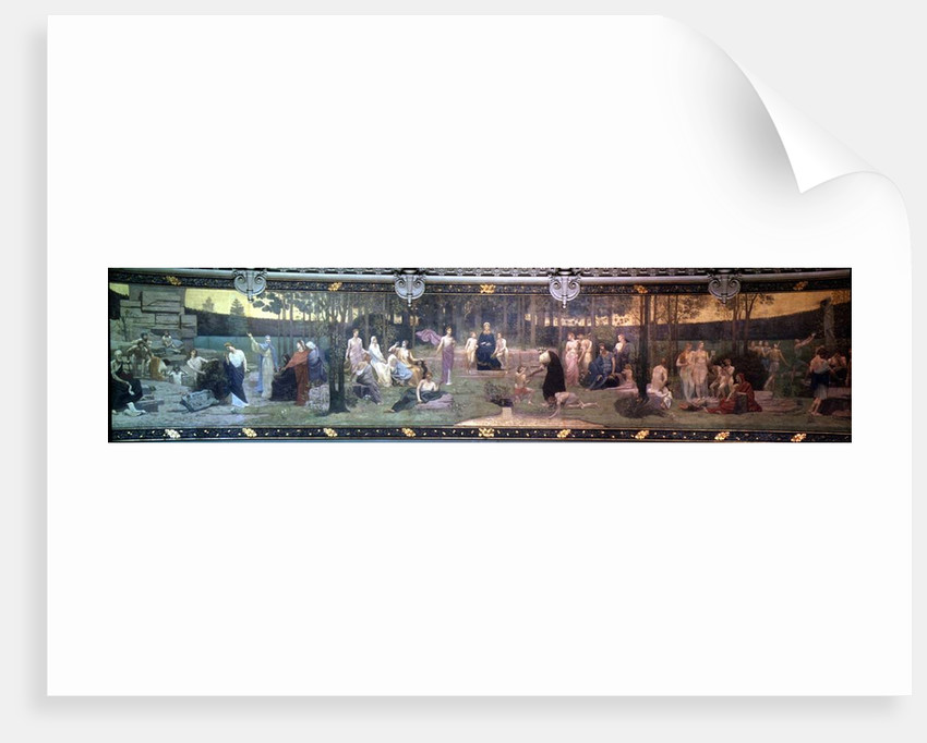 The Sacred Wood, mural in the Grand Amphitheatre depicting allegorical figures of the Sorbonne, Eloquence, Poetry, Philosophy, History, Botany, Geology, Physics and Geometry by Pierre Puvis de Chavannes