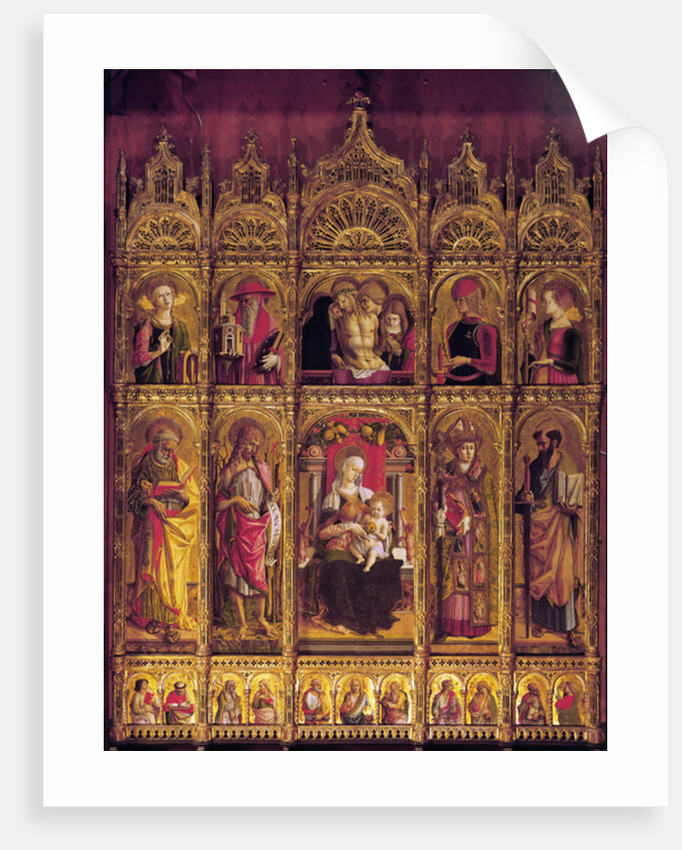 Altarpiece of St Emidio, polyptych: The Pieta and the Virgin with Child between the Saints by Carlo Crivelli