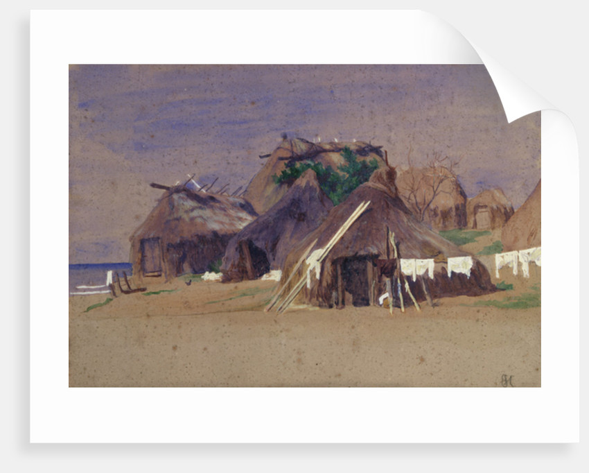 Fishermen's huts on the coast by Antoine Auguste Ernest Herbert or Hebert