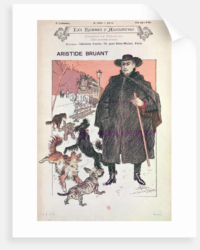 Caricature of Aristide Bruant in Les Hommes d'Aujourd'hui by Theophile Alexandre Steinlen
