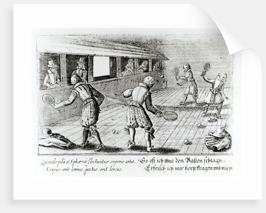 A Game of Real Tennis with Sport Ballads below by English School