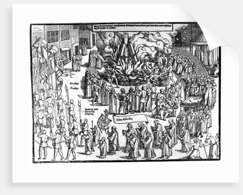 The Burning of the Remains of Martin Bucer and Paul Fagius on Market Hill in Cambridge in 1557 by English School