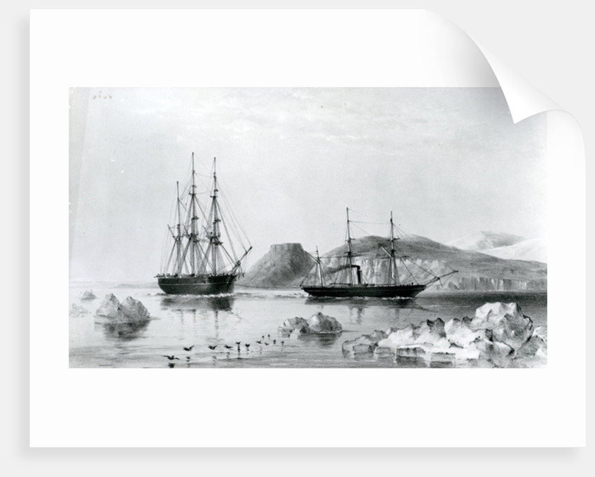 HMS Assistance in Tow of Pioneer passing John Harrow Mount, North Wellington Channel in 1853 by English School