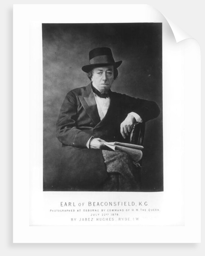 Benjamin Disraeli, 1st Earl of Beaconsfield photographed by Jabez Hughes at Osborne House, Isle of Wight by English Photographer