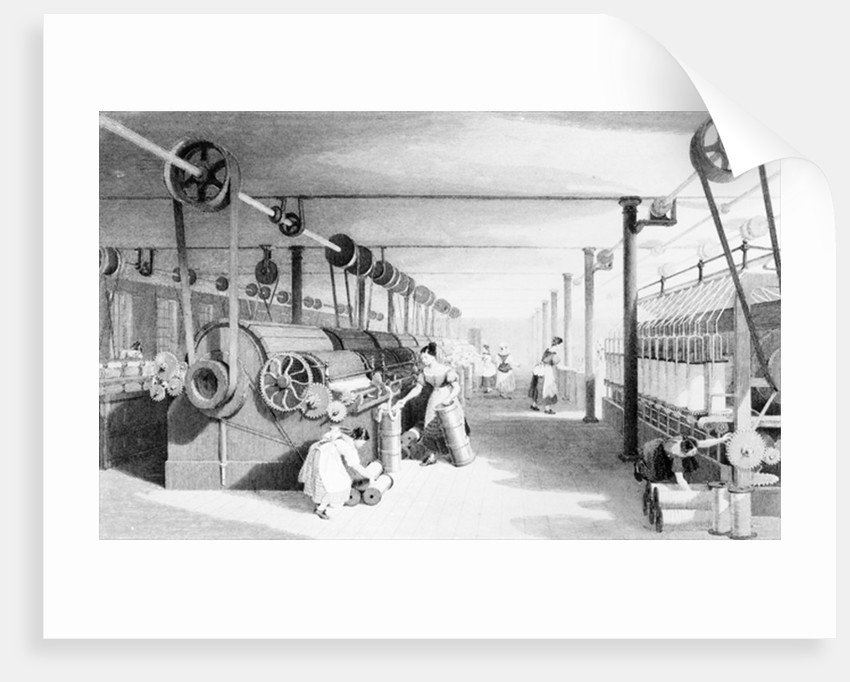 Carding, Drawing and Roving, engraved by J. Carter by Thomas Allom