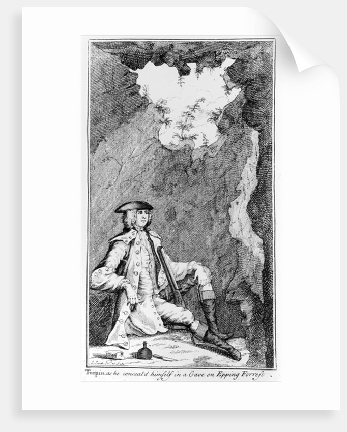 Turpin as he Concealed Himself in a Cave on Epping Forrest by English School