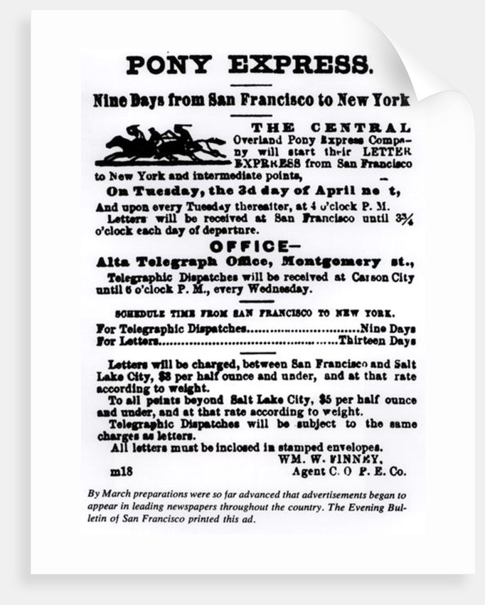 Pony Express, Nine Days from San Francisco to New York by American School