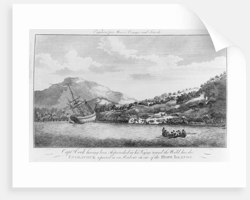 Captain Cook having been shipwrecked in his voyage round the world has the Endeavour repaired in a harbour on one of the Hope Islands by English School