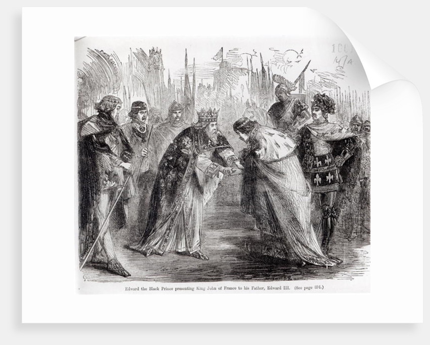 Edward the Black Prince presenting King John II of France to his father, Edward III by English School