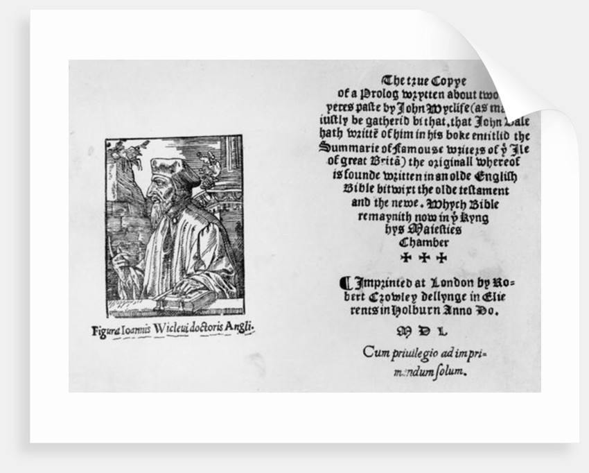 Frontispiece of 'The Summarie of Famouse Writers of the Ile of Great Brita' depicting John Wycliffe by English School