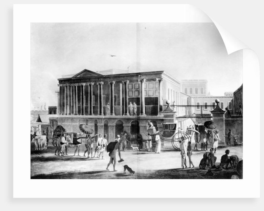 View of a House, Manufactory, and Bazaar, in Calcutta by English School