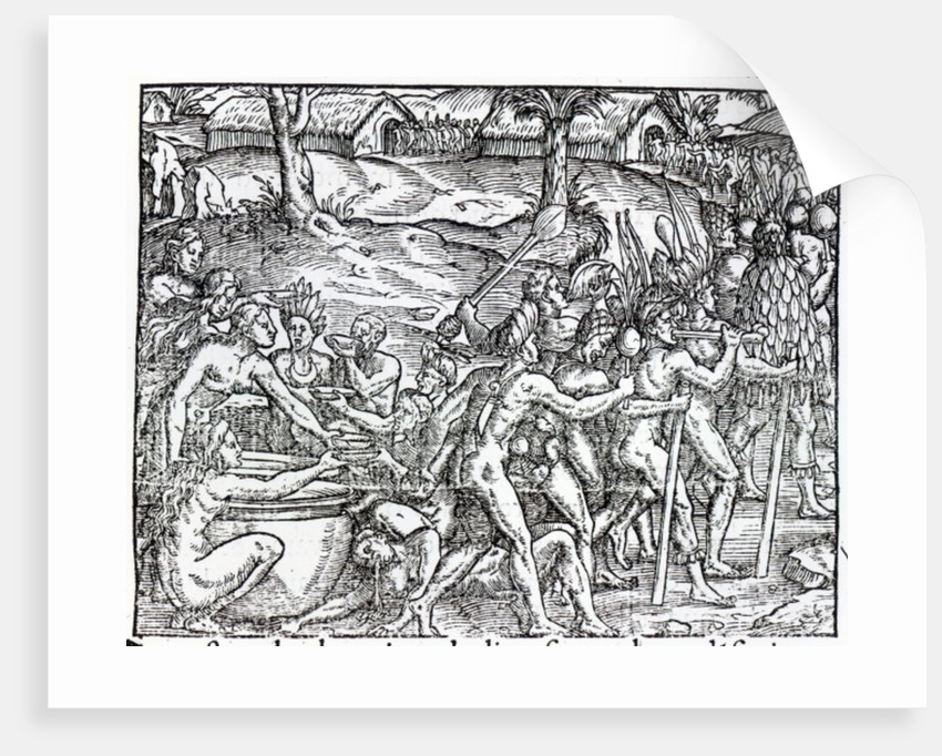 Procession of natives drinking and smoking by Jacques Le Moyne