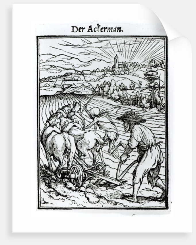 Death and the Ploughman by engraved by Hans Lutzelburger
