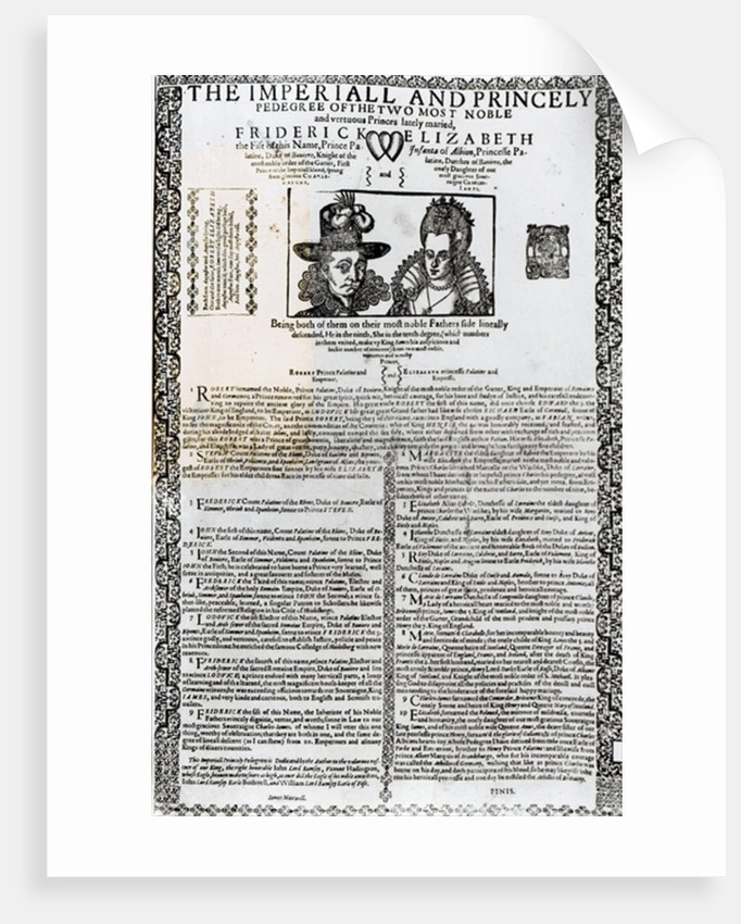 Declaration of the marriage of Frederick V and Elizabeth of Bohemia by English School