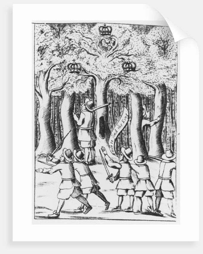 King Charles II hiding in an oak tree at Boscobel after his defeat at the Battle of Worcester in 1651 by English School